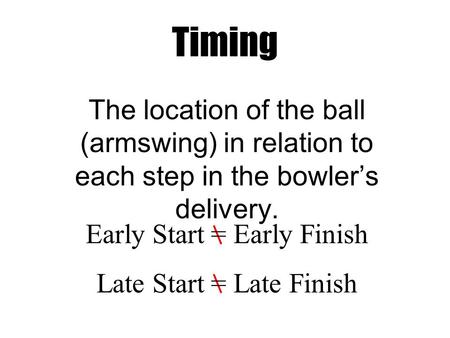 The location of the ball (armswing) in relation to each step in the bowler's delivery. Timing Early Start = Early Finish Late Start = Late Finish.