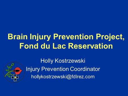 Brain Injury Prevention Project, Fond du Lac Reservation Holly Kostrzewski Injury Prevention Coordinator