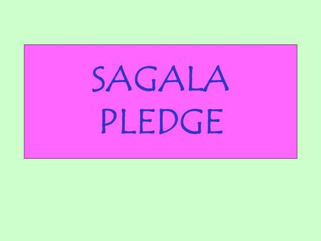 SAGALA PLEDGE. By God's help I promise to: Love and serve God and my country Be a friend to all Respect my leaders and Keep our law.