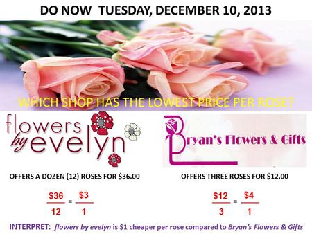 DO NOW TUESDAY, DECEMBER 10, 2013 OFFERS A DOZEN (12) ROSES FOR $36.00OFFERS THREE ROSES FOR $12.00 WHICH SHOP HAS THE LOWEST PRICE PER ROSE? $36 12 $3.