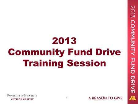 11 2013 Community Fund Drive Training Session. 22 Welcome! The Community Fund Drive is: A charitable-giving, workplace campaign Conducted every October.