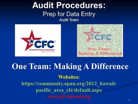 Audit Procedures: Prep for Data Entry Audit Team One Team: Making A Difference 1 Websites: https://community.apan.org/2012_hawaii- pacific_area_cfc/default.aspx.