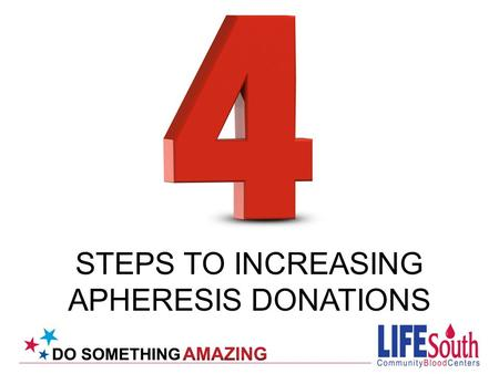 STEPS TO INCREASING APHERESIS DONATIONS. Recent data from IBBIS shows we need: Increase our return rate for apheresis donors Give the donor an excellent.