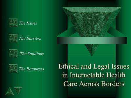 Ethical and Legal Issues in Internetable Health Care Across Borders The Issues The Barriers The Resources The Solutions.