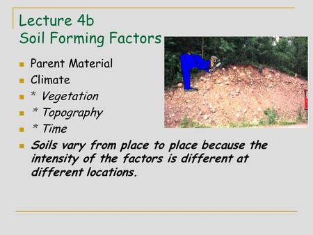 Lecture 4b Soil Forming Factors Parent Material Climate * Vegetation * Topography * Time Soils vary from place to place because the intensity of the factors.