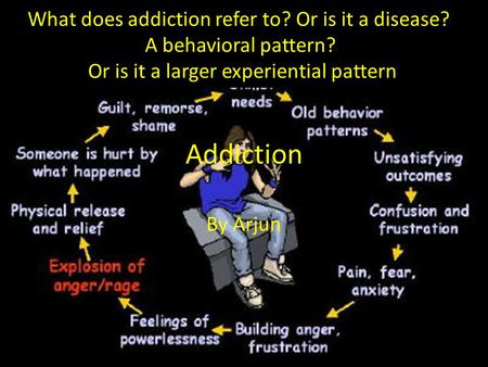 Addiction By Arjun What does addiction refer to? Or is it a disease? A behavioral pattern? Or is it a larger experiential pattern.