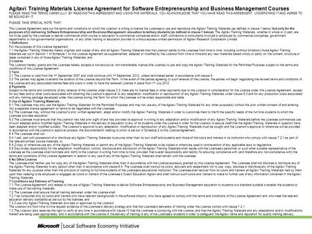 Agitavi Training Materials License Agreement for Software Entrepreneurship and Business Management Courses PLEASE READ THE TERMS CAREFULLY. BY READING.
