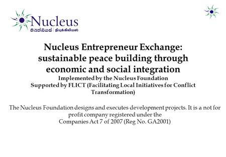 Nucleus Entrepreneur Exchange: sustainable peace building through economic and social integration Implemented by the Nucleus Foundation Supported by FLICT.