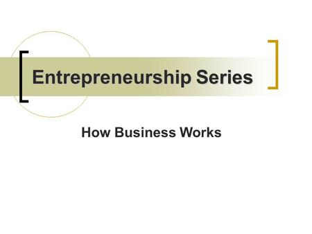 Entrepreneurship Series How Business Works. Review Businesses involve people doing things for other people and being paid for it. Businesses satisfy our…