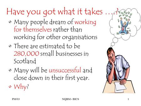 PM/03NQBM - BICS1 Have you got what it takes ….? Many people dream of working for themselves rather than working for other organisations There are estimated.