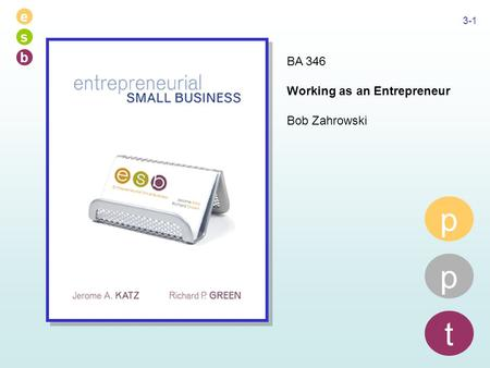 E s b 3-1 p p t BA 346 Working as an Entrepreneur Bob Zahrowski.