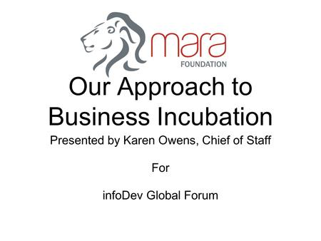 Our Approach to Business Incubation Presented by Karen Owens, Chief of Staff For infoDev Global Forum.