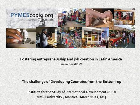Fostering entrepreneurship and job creation in Latin America Emilio Zevallos V. The challenge of Developing Countries from the Bottom-up Institute for.