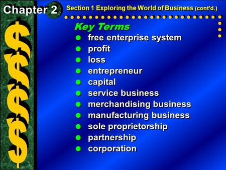 Section 1 Exploring the World of Business (cont'd.) Key Terms  free enterprise system  profit  loss  entrepreneur  capital  service business  merchandising.