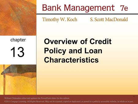 Overview of <strong>Credit</strong> <strong>Policy</strong> and Loan Characteristics