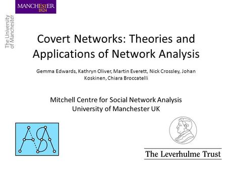Covert Networks: Theories and Applications of Network Analysis Gemma Edwards, Kathryn Oliver, Martin Everett, Nick Crossley, Johan Koskinen, Chiara Broccatelli.