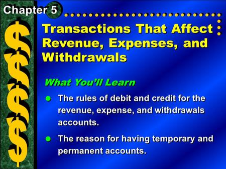 Transactions That Affect Revenue, Expenses, and Withdrawals What You'll Learn  The rules of debit and credit for the revenue, expense, and withdrawals.