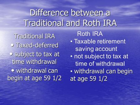 Difference between a Traditional and Roth IRA Traditional IRA Taxed-deferred Taxed-deferred subject to tax at time withdrawal subject to tax at time withdrawal.