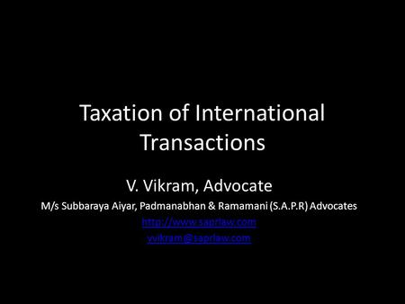 Taxation <strong>of</strong> International Transactions