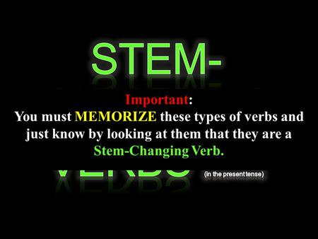 Important: You must MEMORIZE these types of verbs and just know by looking at them that they are a Stem-Changing Verb.