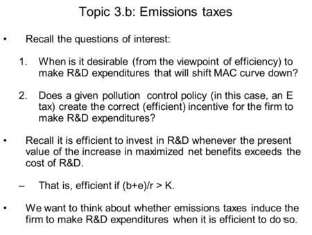 Topic 3.b: Emissions taxes