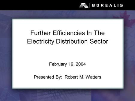 Further Efficiencies In The Electricity Distribution Sector February 19, 2004 Presented By: Robert M. Watters.