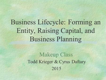1 Business Lifecycle: Forming an Entity, Raising Capital, and Business Planning Todd Krieger & Cyrus Daftary 2015 Makeup Class.