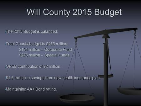 The 2015 Budget is balanced. The 2015 Budget is balanced. Total County budget is $466 million. Total County budget is $466 million. $191 million – Corporate.