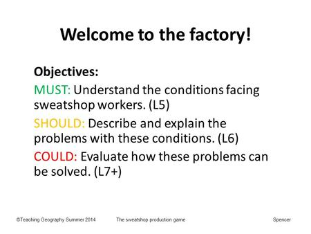 Welcome to the factory! Objectives: MUST: Understand the conditions facing sweatshop workers. (L5) SHOULD: Describe and explain the problems with these.