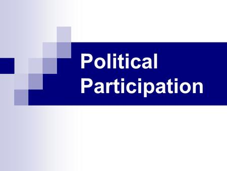 Political Participation. Voter Turnout Measured 3 ways (2008/2010 elections): Voting Age Population = 57% / 38% Voting Eligible Population = 61% / 41%