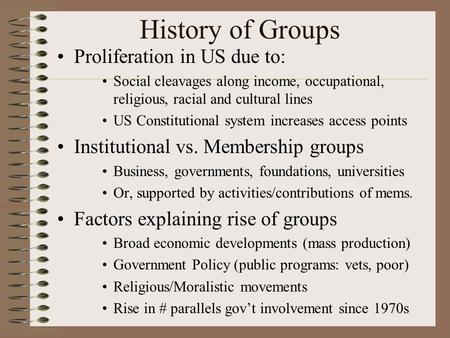 History of Groups Proliferation in US due to: Social cleavages along income, occupational, religious, racial and cultural lines US Constitutional system.