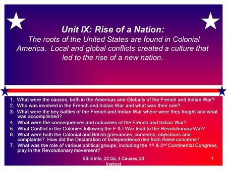 53: 5 Info, 22 Qz, 4 Causes, 20 Instruct 1 Unit IX: Rise of a Nation: The roots of the United States are found in Colonial America. Local and global conflicts.