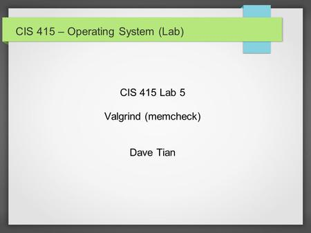 CIS 415 – Operating System (Lab) CIS 415 Lab 5 Valgrind (memcheck) Dave Tian.