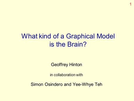 What kind of a Graphical Model is the Brain? Geoffrey Hinton in collaboration with Simon Osindero and Yee-Whye Teh 1.