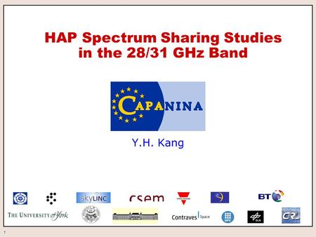 1 HAP Spectrum Sharing Studies in the 28/31 GHz Band Y.H. Kang.