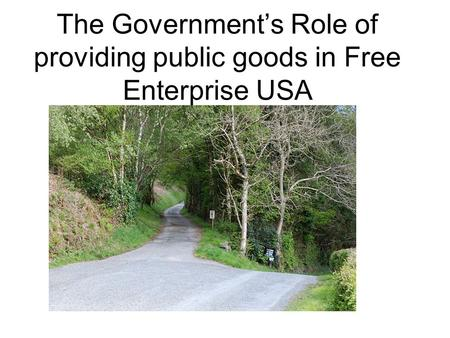 The Government's Role of providing public goods in Free Enterprise USA