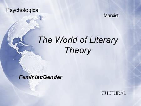 The World of Literary Theory Feminist/Gender Psychological Marxist Cultural.