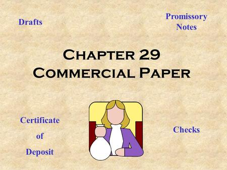 Chapter 29 Commercial Paper Drafts Checks Promissory Notes Certificate of Deposit.