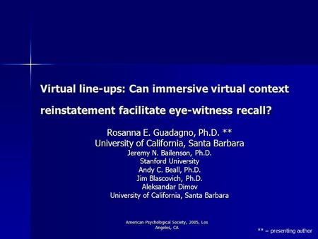 American Psychological Society, 2005, Los Angeles, CA Virtual line-ups: Can immersive virtual context reinstatement facilitate eye-witness recall? Rosanna.