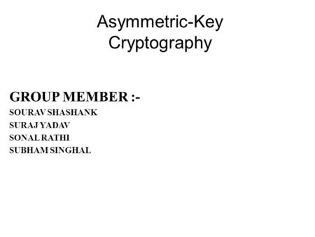 Asymmetric-Key Cryptography