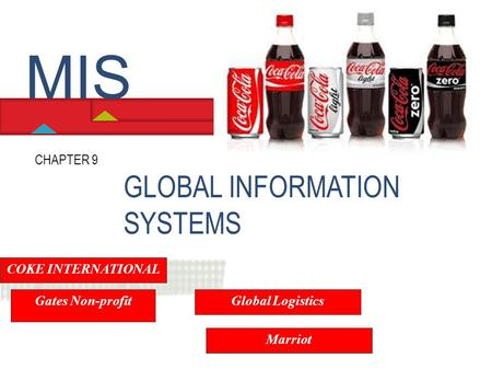 GLOBAL INFORMATION SYSTEMS CHAPTER 9 MIS COKE INTERNATIONAL Gates Non-profit Global Logistics Marriot.