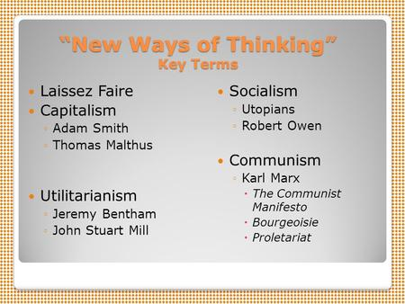"""New Ways of Thinking"" Key Terms"