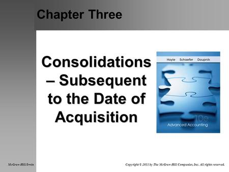 Chapter Three Consolidations – Subsequent to the Date of Acquisition McGraw-Hill/Irwin Copyright © 2011 by The McGraw-Hill Companies, Inc. All rights.