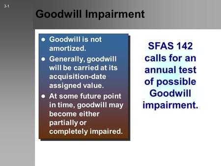 Goodwill Impairment Goodwill is not amortized. Generally, goodwill will be carried at its acquisition-date assigned value. At some future point in time,