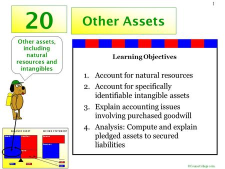 ©CourseCollege.com 1 20 Other Assets Learning Objectives 1.Account for natural resources 2.Account for specifically identifiable intangible assets 3.Explain.
