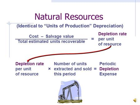 Natural Resources Cost – Salvage value Total estimated units recoverable = Depletion rate per unit of resource × Number of units extracted and sold this.