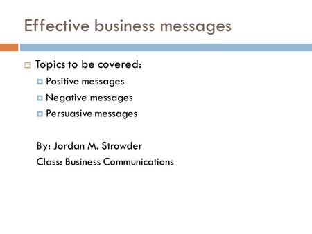 Effective business messages