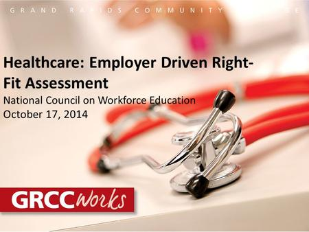 Healthcare: Employer Driven Right- Fit Assessment National Council on Workforce Education October 17, 2014.