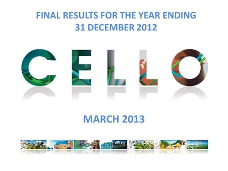 FINAL RESULTS FOR THE YEAR ENDING 31 DECEMBER 2012 MARCH 2013.