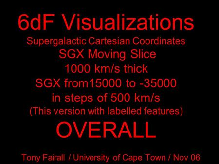 6dF Visualizations Supergalactic Cartesian Coordinates SGX Moving Slice 1000 km/s thick SGX from15000 to -35000 in steps of 500 km/s (This version with.